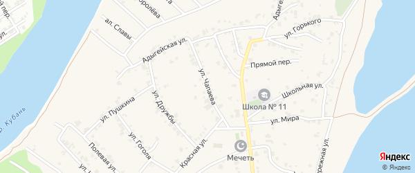 Улица Чапаева на карте аула Старобжегокай Адыгеи с номерами домов