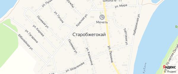 Улица Чуца на карте аула Старобжегокай Адыгеи с номерами домов