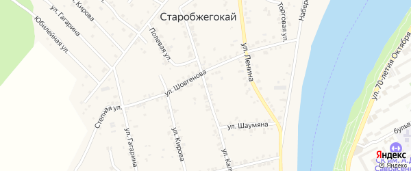 Улица Калинина на карте аула Старобжегокай Адыгеи с номерами домов