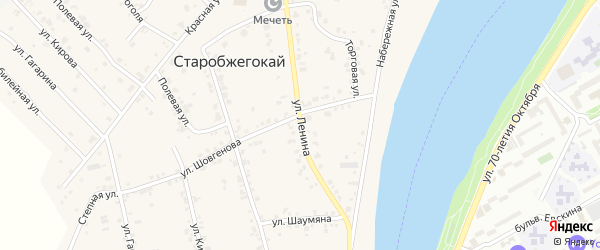 Улица Ленина на карте аула Старобжегокай Адыгеи с номерами домов