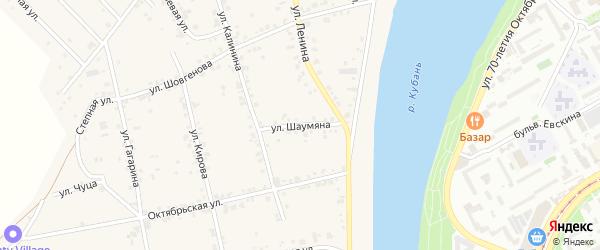 Улица Шаумяна на карте аула Старобжегокай Адыгеи с номерами домов