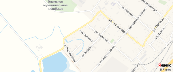 Переулок Кирова на карте поселка Энема Адыгеи с номерами домов