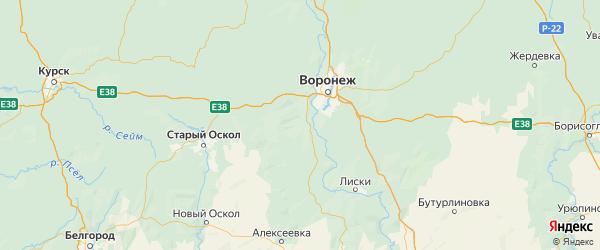 Карта Хохольского района Воронежской области с городами и населенными пунктами