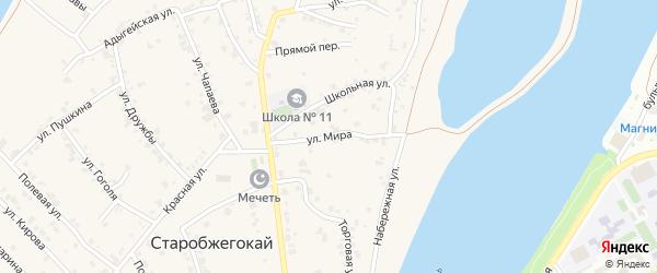 Улица Мира на карте аула Старобжегокай Адыгеи с номерами домов