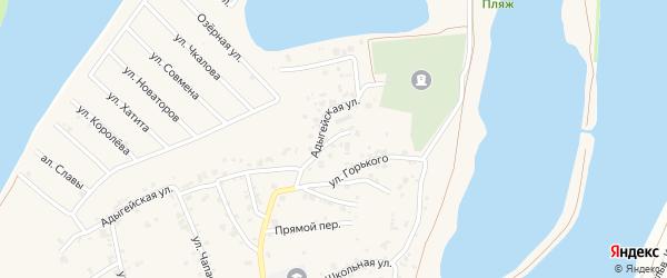 Адыгейский переулок на карте аула Старобжегокай Адыгеи с номерами домов