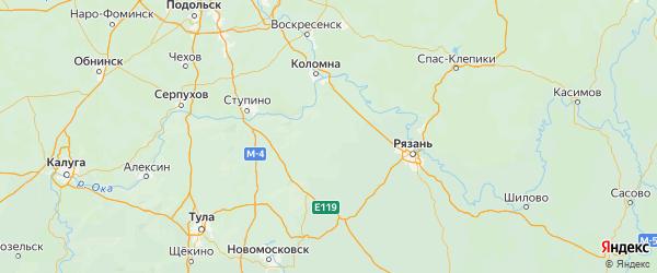 Карта Зарайского района Московской области с городами и населенными пунктами