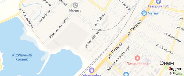 Улица Маяковского на карте поселка Энема Адыгеи с номерами домов