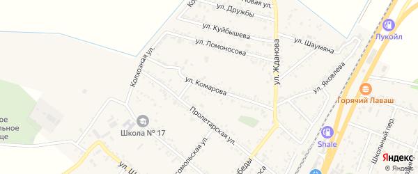 Улица Комарова на карте поселка Энема Адыгеи с номерами домов