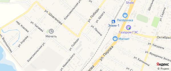 Переулок Победы на карте поселка Энема Адыгеи с номерами домов