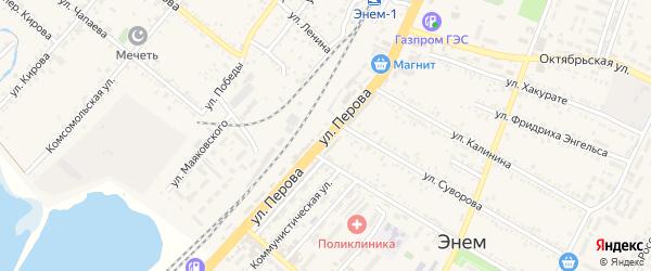 Улица Перова на карте поселка Энема Адыгеи с номерами домов