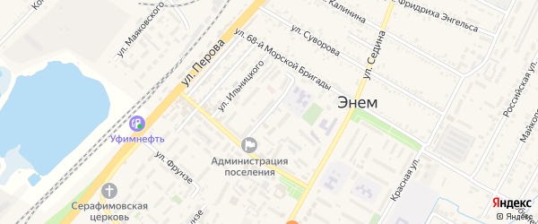 Переулок Ильницкого на карте поселка Энема с номерами домов