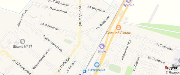 Переулок Яковлева на карте поселка Энема Адыгеи с номерами домов