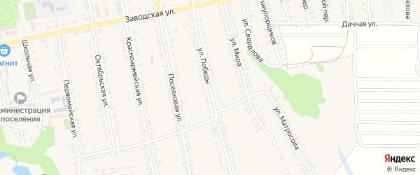 Улица Победы на карте поселка Латной Воронежской области с номерами домов