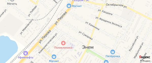 Дорога А/Д Краснодар-Новороссийск на карте поселка Энема с номерами домов
