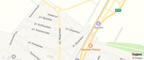 Улица Шаумяна на карте поселка Энема Адыгеи с номерами домов