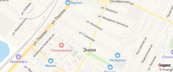 Улица Суворова на карте поселка Энема Адыгеи с номерами домов