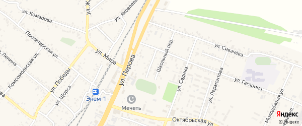 Спортивный переулок на карте поселка Энема Адыгеи с номерами домов
