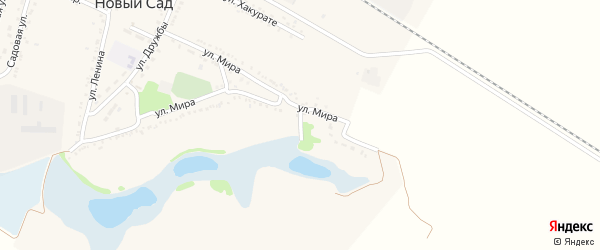 Переулок Мира на карте хутора Нового Сада Адыгеи с номерами домов