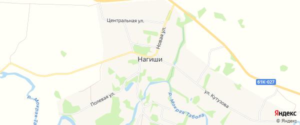 Карта села Нагиши в Рязанской области с улицами и номерами домов