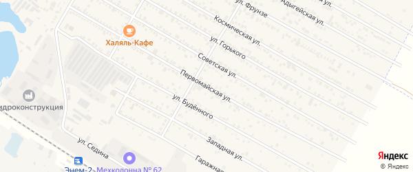 Первомайская улица на карте поселка Энема Адыгеи с номерами домов