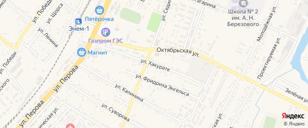 Улица Хакурате на карте поселка Энема Адыгеи с номерами домов