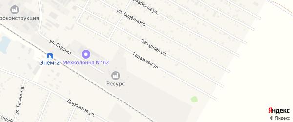 Гаражная улица на карте поселка Энема Адыгеи с номерами домов