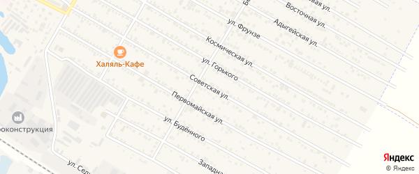 Советская улица на карте поселка Энема Адыгеи с номерами домов