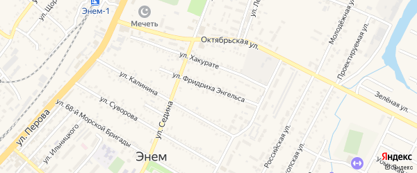 Улица Энгельса на карте поселка Энема Адыгеи с номерами домов
