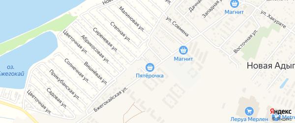 Короткая улица на карте аула Новой Адыгеи Адыгеи с номерами домов