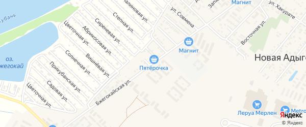 Бжегокайская улица на карте аула Новой Адыгеи с номерами домов