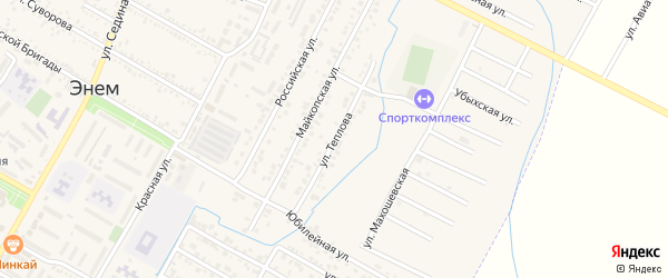 Улица Теплова на карте поселка Энема с номерами домов