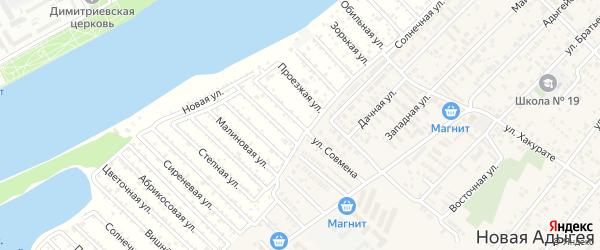 Конечная улица на карте Зари Адыгеи с номерами домов
