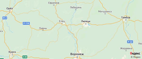 Карта Задонского района Липецкой области с городами и населенными пунктами