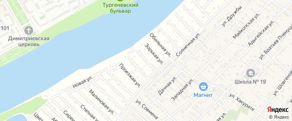 Пляжная улица на карте Зари Адыгеи с номерами домов