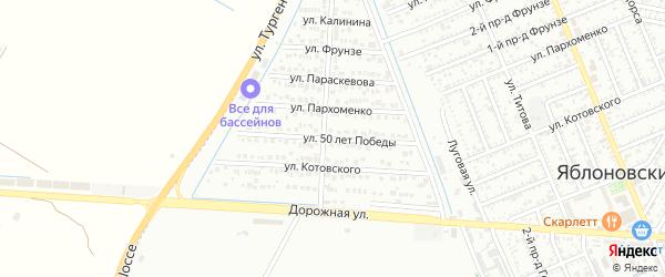 Улица 50 лет Победы на карте Яблоновского поселка Адыгеи с номерами домов