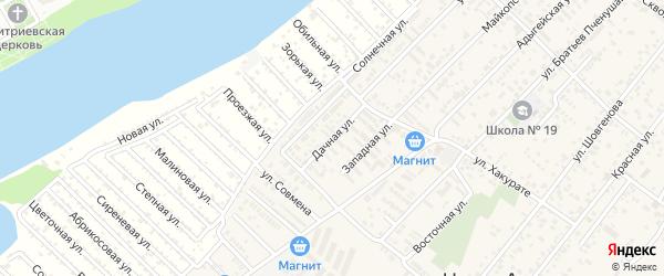 Дачная улица на карте аула Новой Адыгеи с номерами домов