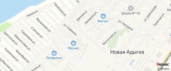 Краснодарская улица на карте аула Новой Адыгеи Адыгеи с номерами домов