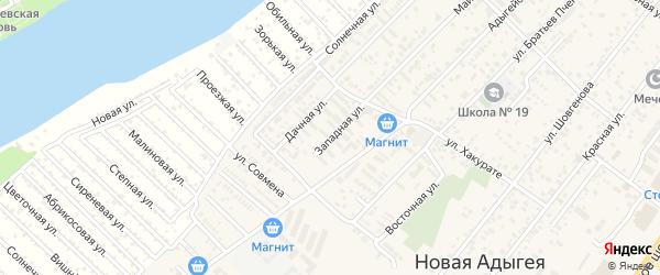 Западная улица на карте аула Новой Адыгеи Адыгеи с номерами домов