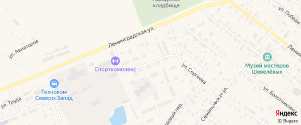 Ленинградский переулок на карте Каргополя с номерами домов