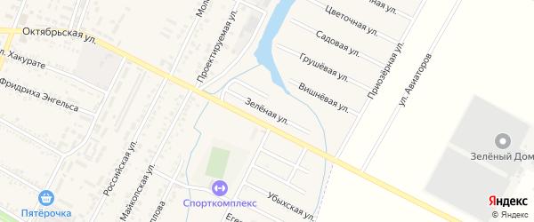 Зеленая улица на карте Приозерного Адыгеи с номерами домов