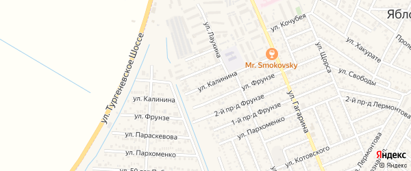 Улица Калинина на карте Яблоновского поселка Адыгеи с номерами домов