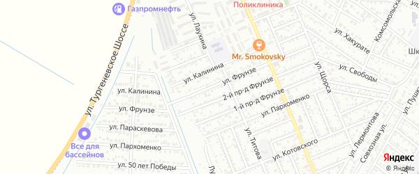 Улица Фрунзе на карте Яблоновского поселка Адыгеи с номерами домов
