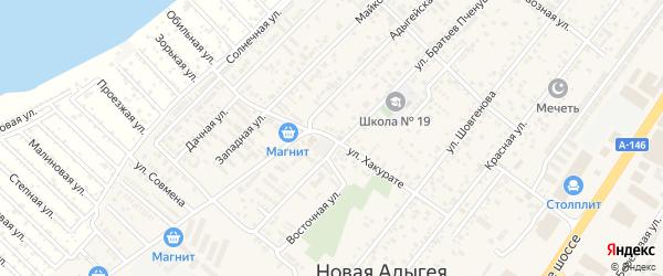 Улица Хакурате на карте аула Новой Адыгеи Адыгеи с номерами домов