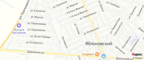 Лабинский 1-й проезд на карте Яблоновского поселка Адыгеи с номерами домов