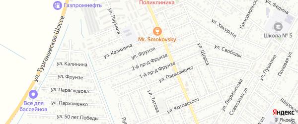 Фрунзе 2-й проезд на карте Яблоновского поселка Адыгеи с номерами домов