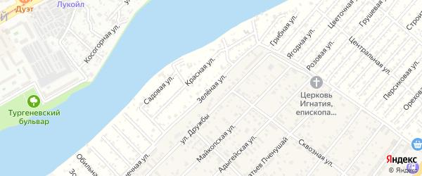 Зеленая улица на карте Водхозовец Адыгеи с номерами домов