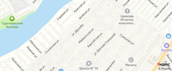 Майкопская улица на карте аула Новой Адыгеи Адыгеи с номерами домов