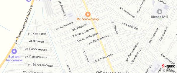 Фрунзе 1-й проезд на карте Яблоновского поселка Адыгеи с номерами домов