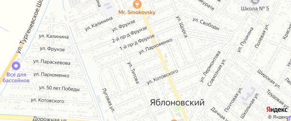 Черноморский 2-й проезд на карте Яблоновского поселка Адыгеи с номерами домов