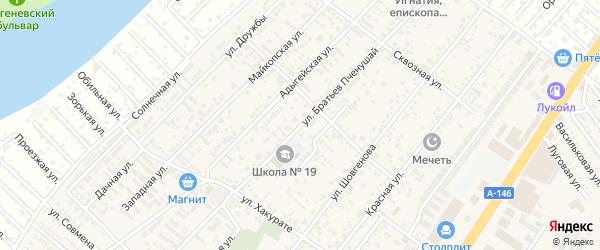 Улица Братьев Пченушай на карте аула Новой Адыгеи Адыгеи с номерами домов